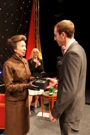 Tom Silvey, Apprentice of the Year, receiving award from Princess Anne