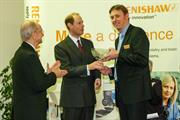 HRH The Earl of Wessex presents the Queens Award bowl to Dave Wallace Director of Renishaw's CMM Products Division